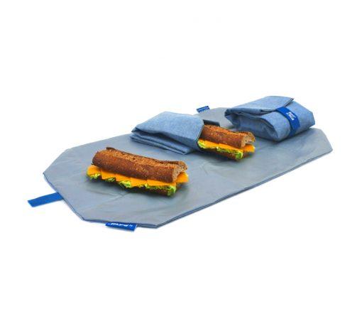 porta bocadillos ecologico reutilizable azul