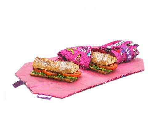 porta bocadillos plegable con estampado de princesa rosa
