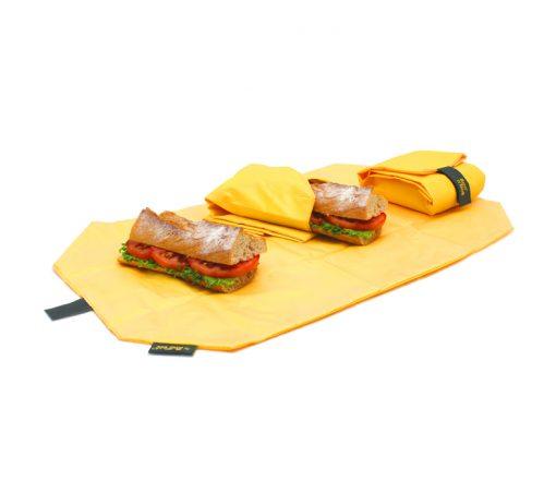 porta bocadillos reutilizable amarillo rolleat