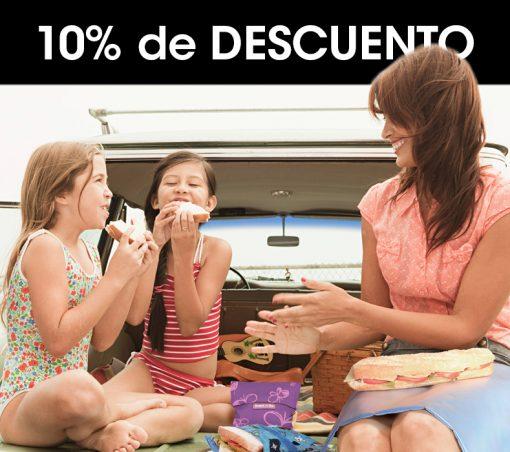 10% descuento comprando porta alimentos reutilizables